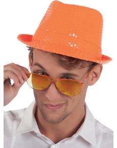Chapeau orange paillettes adulte